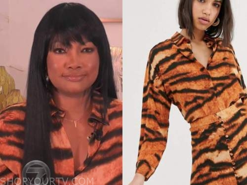garcelle beauvais, the real, orange tiger shirt