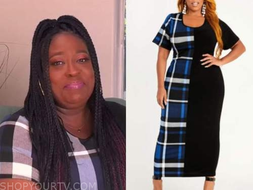 loni love, the real, blue plaid colorblock midi dress