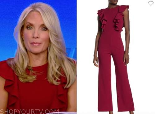 dana perino, burgundy red ruffle jumpsuit, the five, the daily briefing