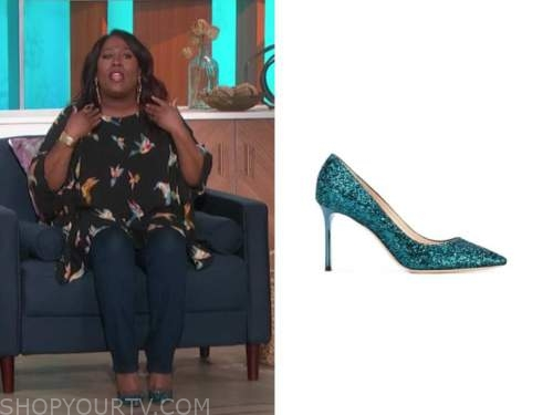 sheryl underwood, teal sequin pumps, the talk