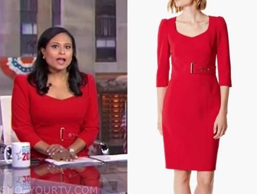 kristen welker, red sheath dress, the today show