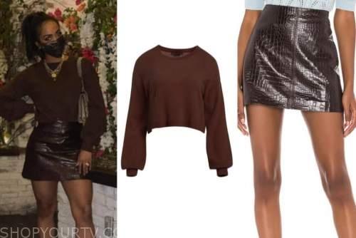 rachel lindsay, the bachelorette, brown sweater, brown snakeskin skirt