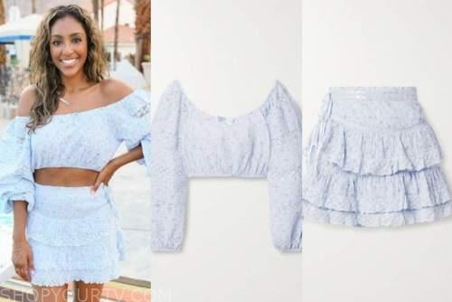 tayshia adams, the bachelorette, blue floral crop top and skirt set