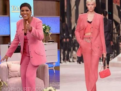 tamron hall, tamron hall show, pink tweed jacket and pants