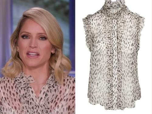 sara haines, the view, leopard ruffle button down blouse
