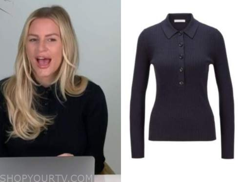 morgan stewart, navy blue ribbed polo sweater, E! news, daily pop