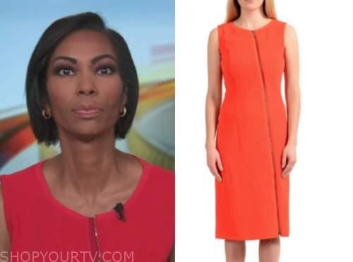 harris faulkner, red orange zip-front dress, outnumbered