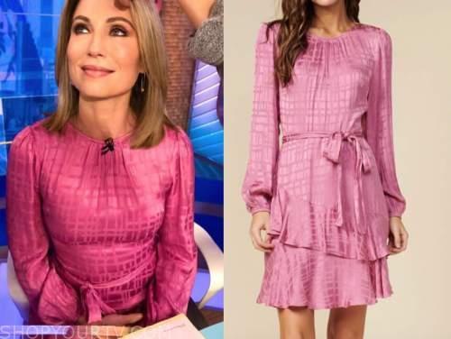 amy robach, good morning america, pink long sleeve dress