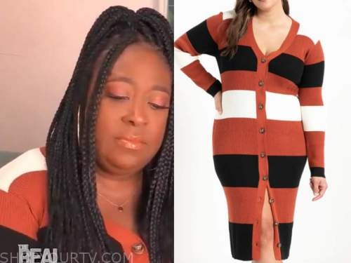 loni love, the real, orange, white, and black striped sweater dress