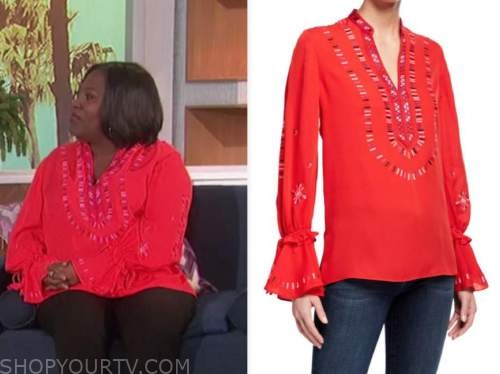 the talk, sheryl underwood, red embroidered blouse