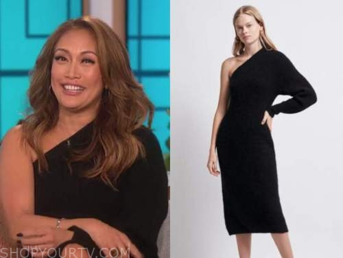 carrie ann inaba, the talk, black one-shoulder sweater dress