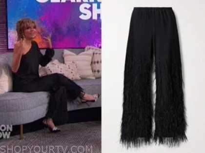 the kelly clarkson show, lisa rinna, black satin feather pants