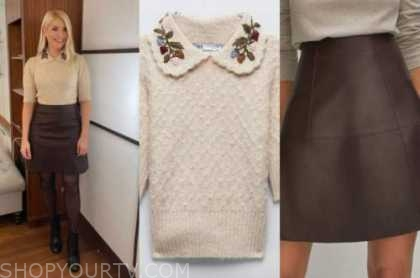 holly willoughby, this morning, embroidered collar sweater, leather skirt