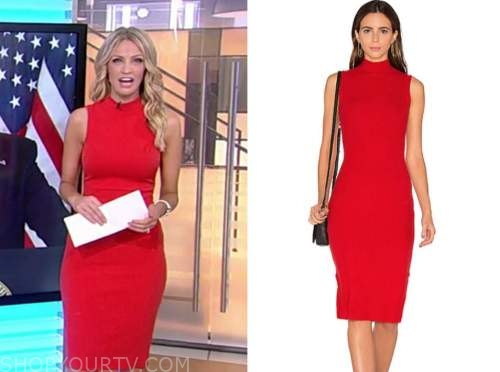 carley shimkus, fox and friends, red mock neck knit sleeveless dress