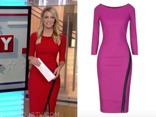 carley shimkus, fox and friends, red and black zipper dress