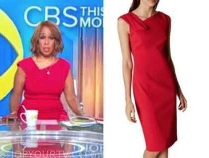 gayle king, cbs this morning, red asymmetric neck sheath dress