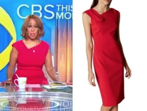 gayle king, cbs this morning, red asymmetric neck sheath dress