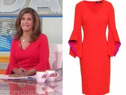 hoda kotb, the today show, red v-neck bell sleeve dress