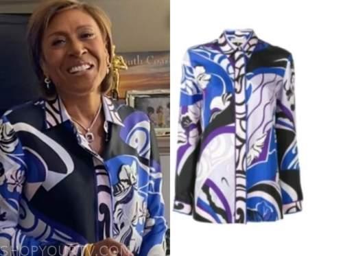 robin roberts, blue and purple printed shirt, good morning america, gma