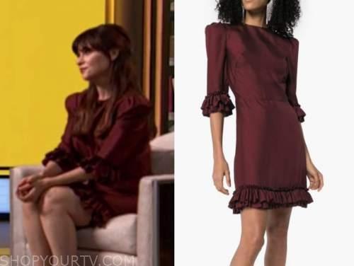 zooey deschanel, drew barrymore show, burgundy red ruffle dress