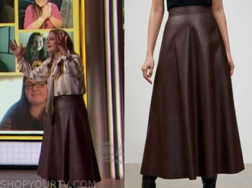 drew barrymore, drew barrymore show, burgundy leather midi skirt