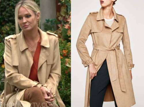 sharon newman, sharon case, beige trench coat, the young and the restless