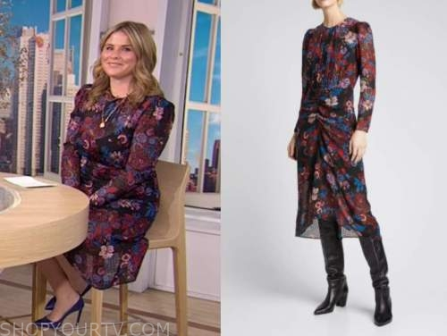jenna bush hager, the today show, floral long sleeve midi dress