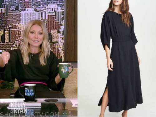 kelly ripa, live with kelly and ryan, black midi dress, hot pink belt