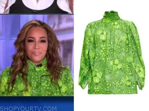 sunny hostin, the view, green satin floral mock neck blouse