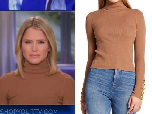 the view, sara haines, camel brown turtleneck top