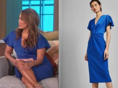 the talk, carrie ann inaba, blue twist dress