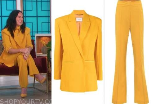 rumer willis, the talk, yellow pant suit