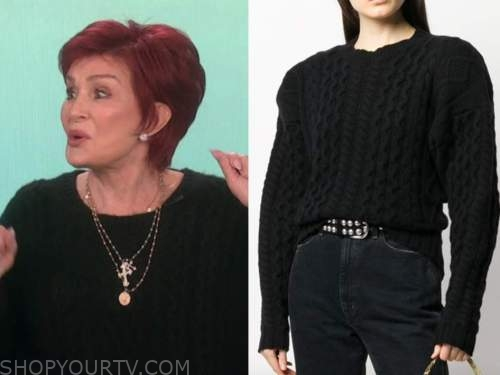 sharon osbourne, the talk, black cable knit sweater