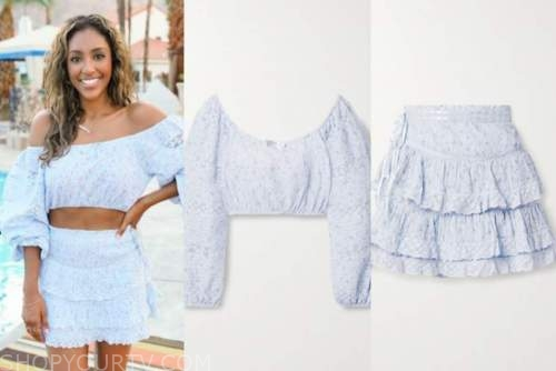 the bachelorette, tayshia adams, blue floral dress, blue floral crop top and skirt set