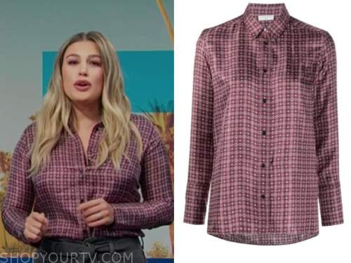 carissa culiner, E! news, daily pop, burgundy geometric floral shirt