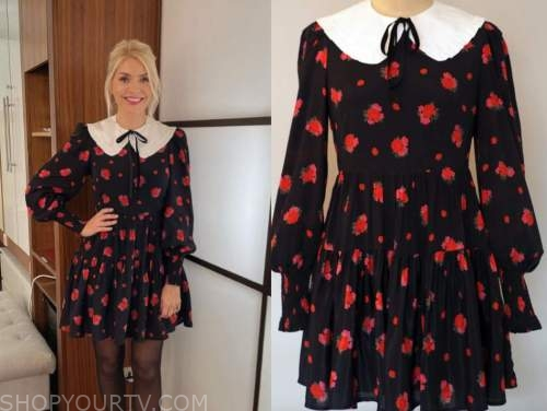 holly willoughby, this morning, red and black floral dress