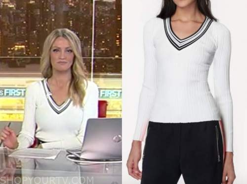 carley shimkus, white v-neck sweater, fox and friends