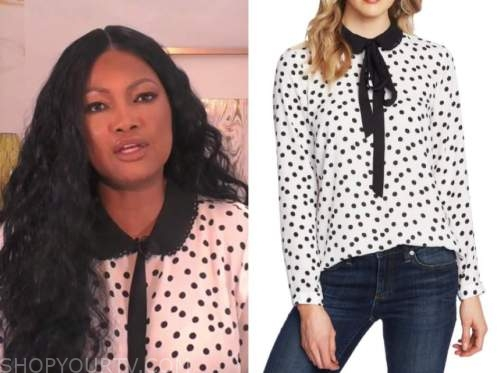garcelle beauvais, the real, black and white polka dot top