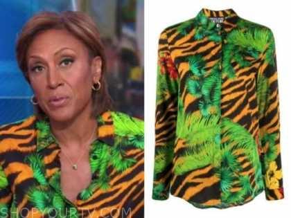 robin roberts, good morning america, green and orange tiger stripe shirt
