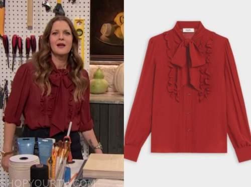 drew barrymore, drew barrymore show, red ruffle tie neck blouse