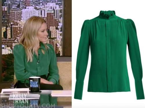 kelly ripa, live with kelly and ryan, green silk blouse