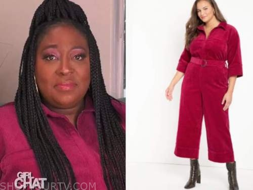 loni love, pink corduroy jumpsuit, the real