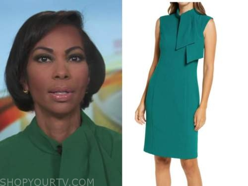 harris faulkner, green tie neck dress, outnumbered