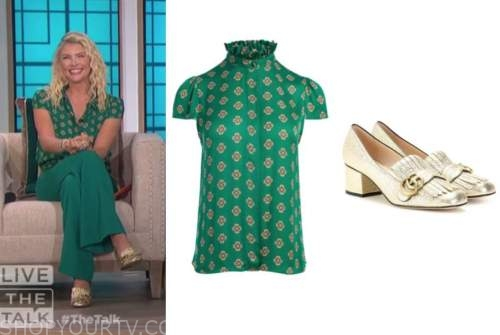 amanda kloots, green printed top, gold loafer heels, the talk