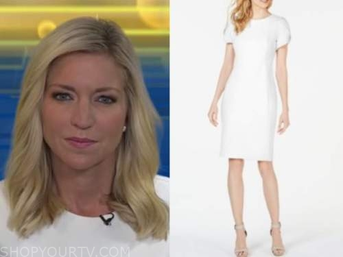 ainsley earhardt, white puff sleeve dress, fox and friends
