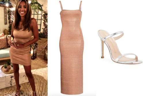 tayshia adams, the bachelorette, rose gold bandage dress, silver sandals