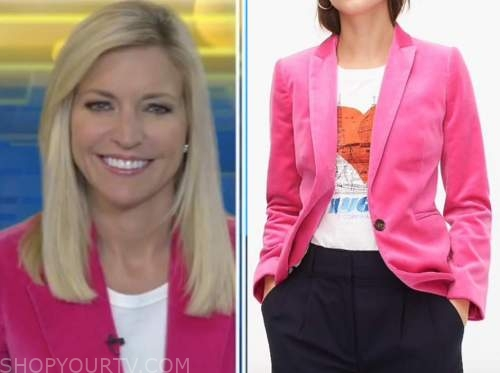 ainsley earhardt, pink velvet blazer, fox and friends