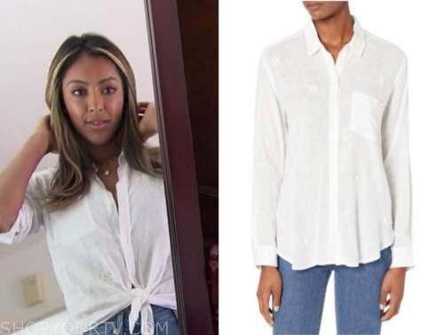 tayshia adams, white shirt, the bachelorette