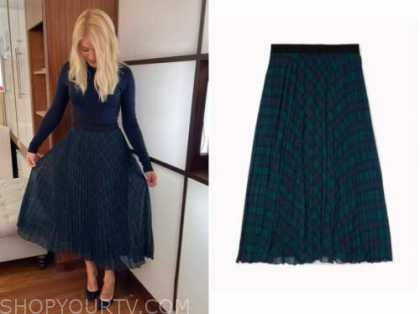 holly willoughby, this morning, tartain plaid pleated midi skirt