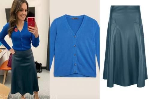 good morning britain, laura tobin, blue cardigan sweater, blue leather midi skirt